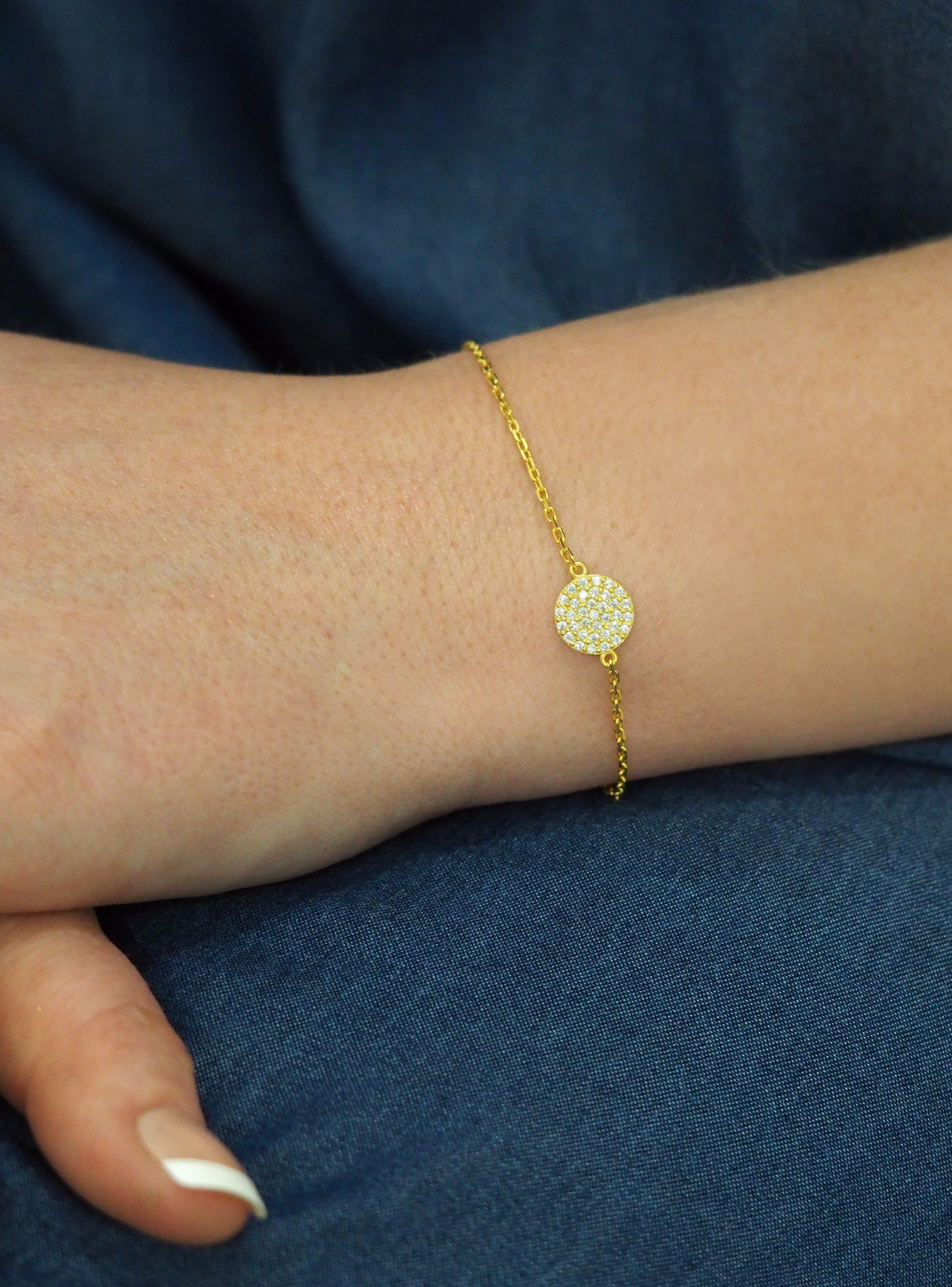 Adele Circle Disc Pave Set CZ Bracelet in Gold