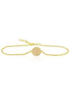 Adele Circle Disc Pave Set CZ Bracelet in Gold