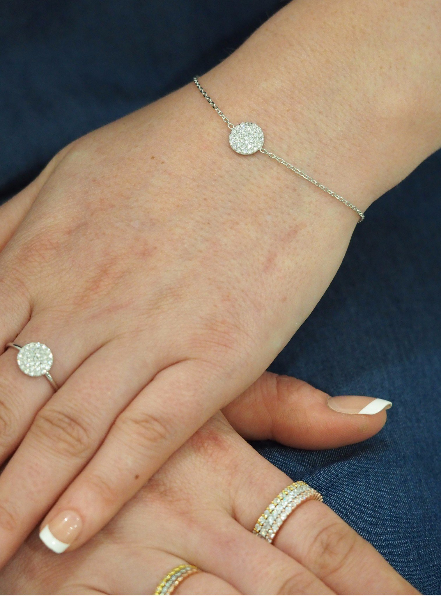 Adele Circle Disc Pave Set CZ Bracelet in Silver