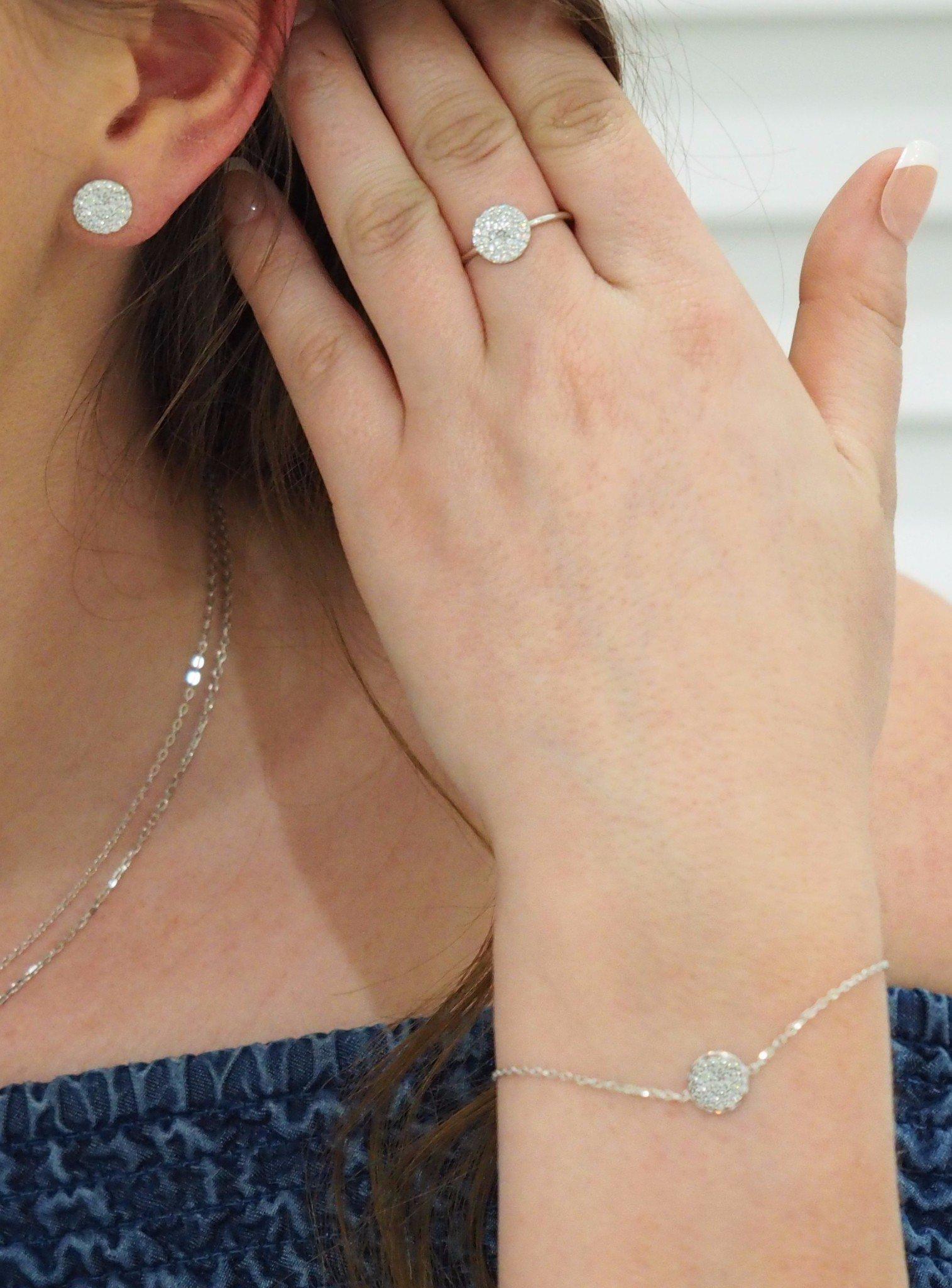 Adele Circle Disc Pave Set CZ Bracelet in Silver
