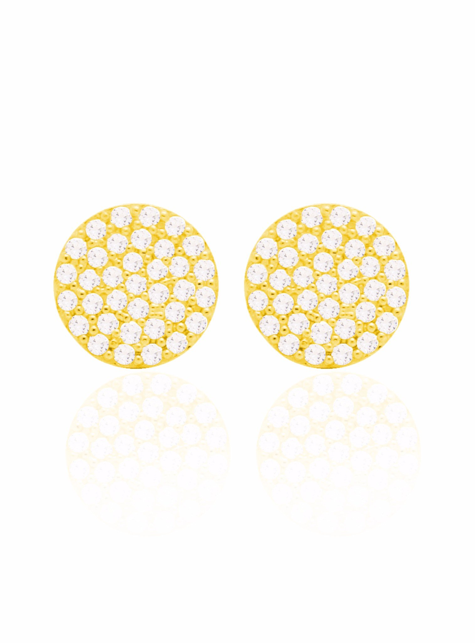 Adele Circle Disc Pave Set CZ Earrings in Gold