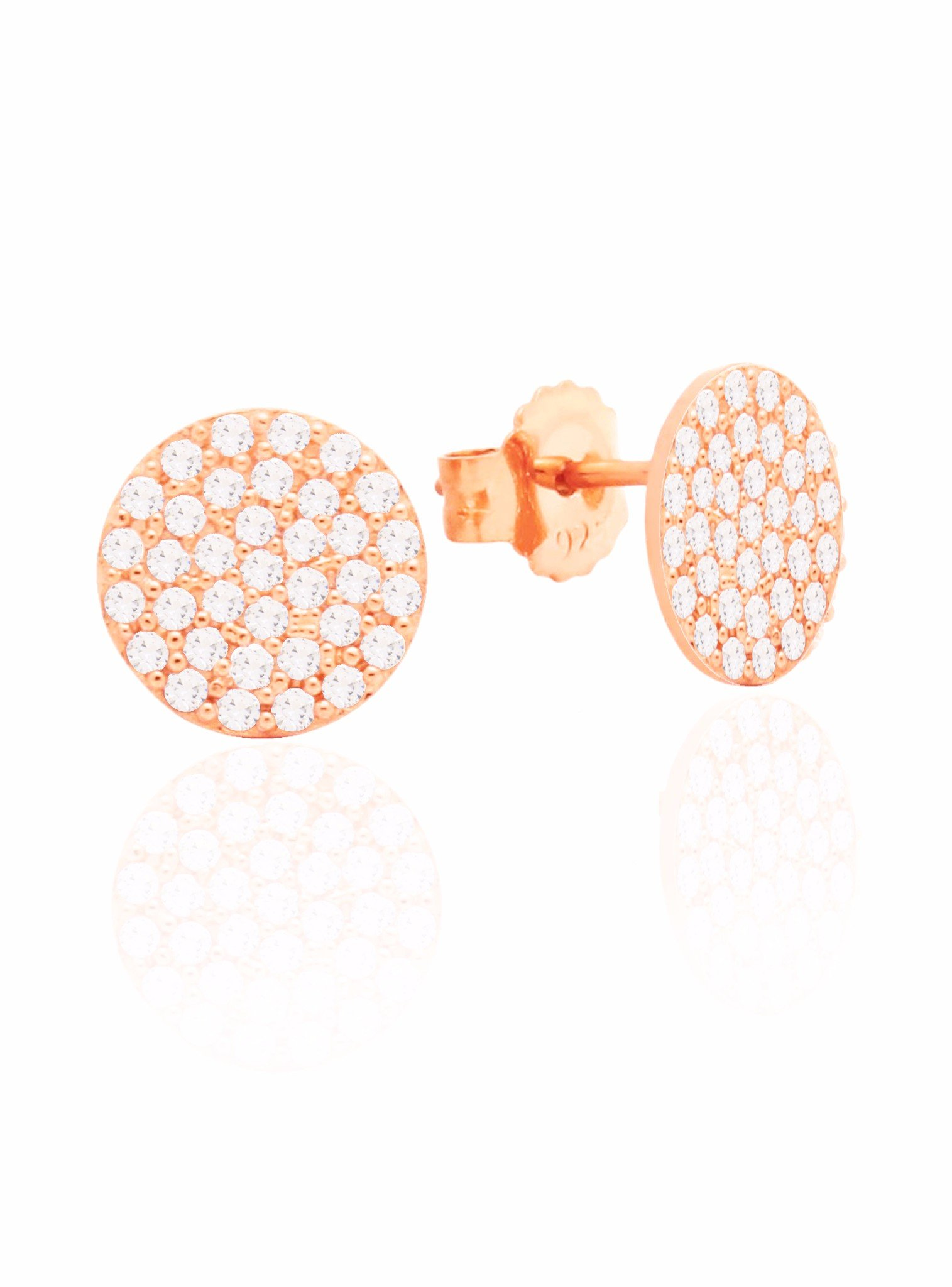 Adele Circle Disc Pave Set CZ Earrings in Rose Gold