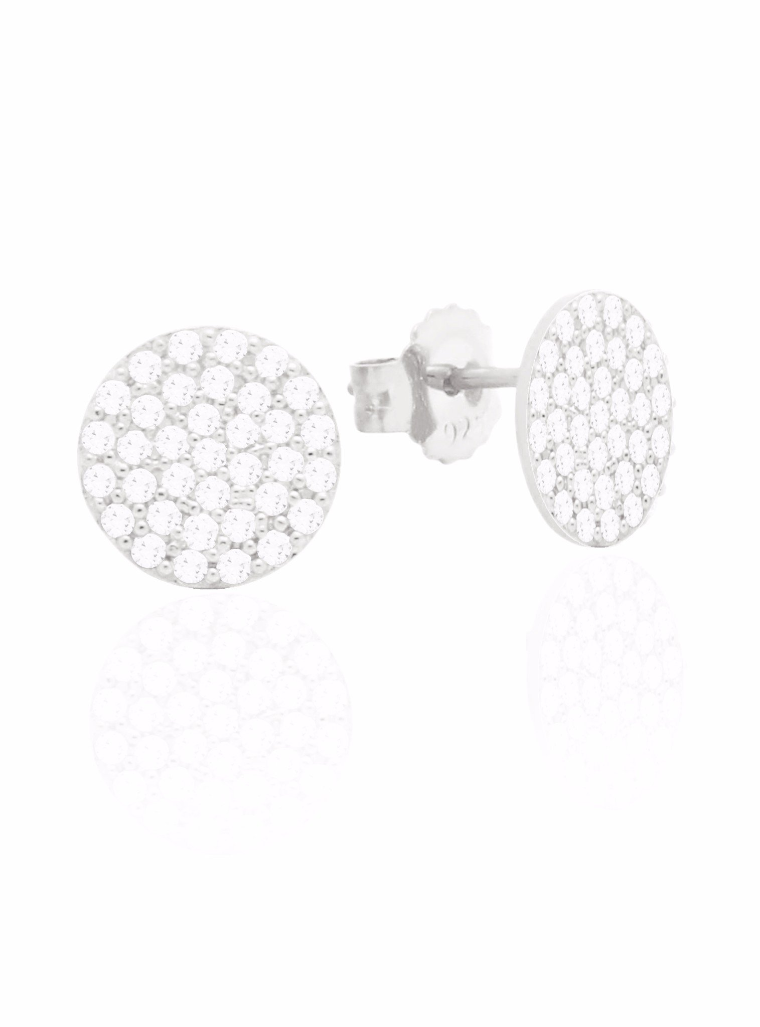 Adele Circle Disc Pave Set CZ Earrings in Silver