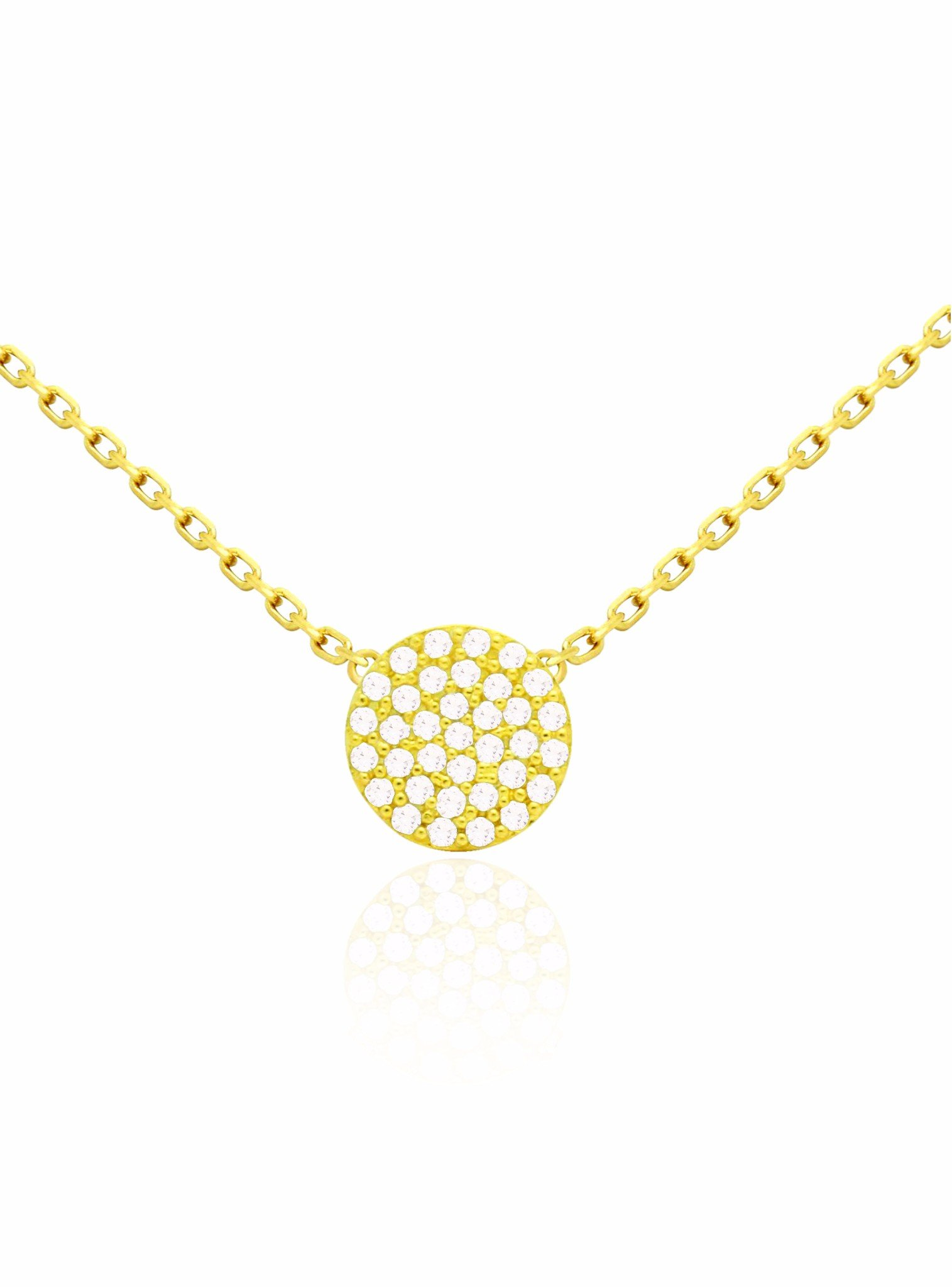 Adele Circle Disc Pave Set CZ Necklace in Gold