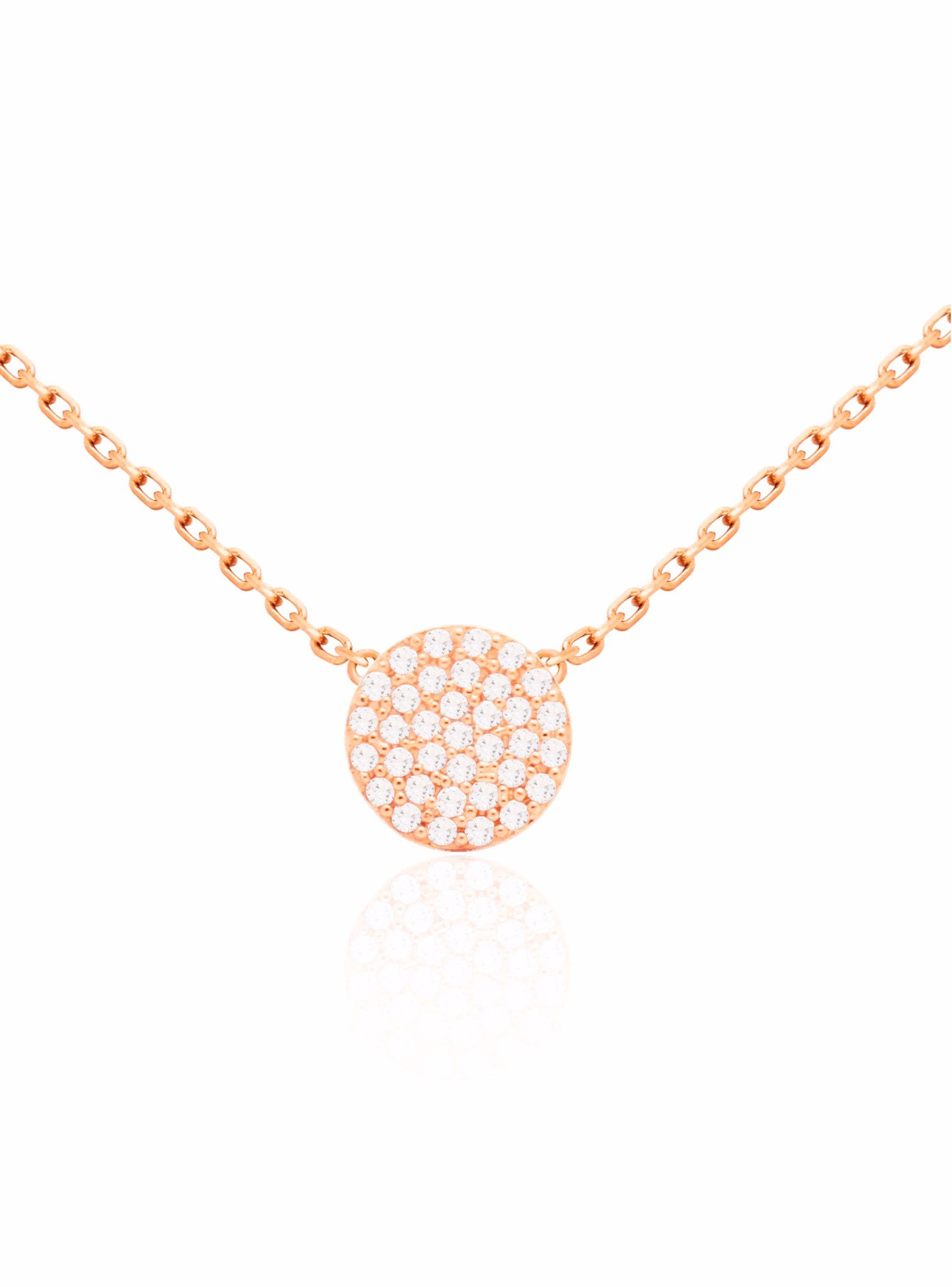Adele Circle Disc Pave Set CZ Necklace in Rose Gold