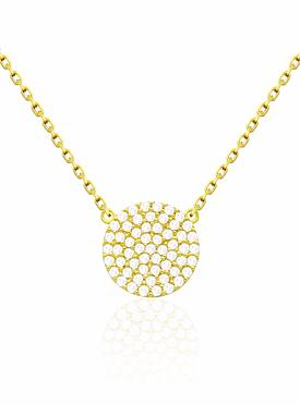 Adele Circle Disc CZ Pave Set Necklace in Gold