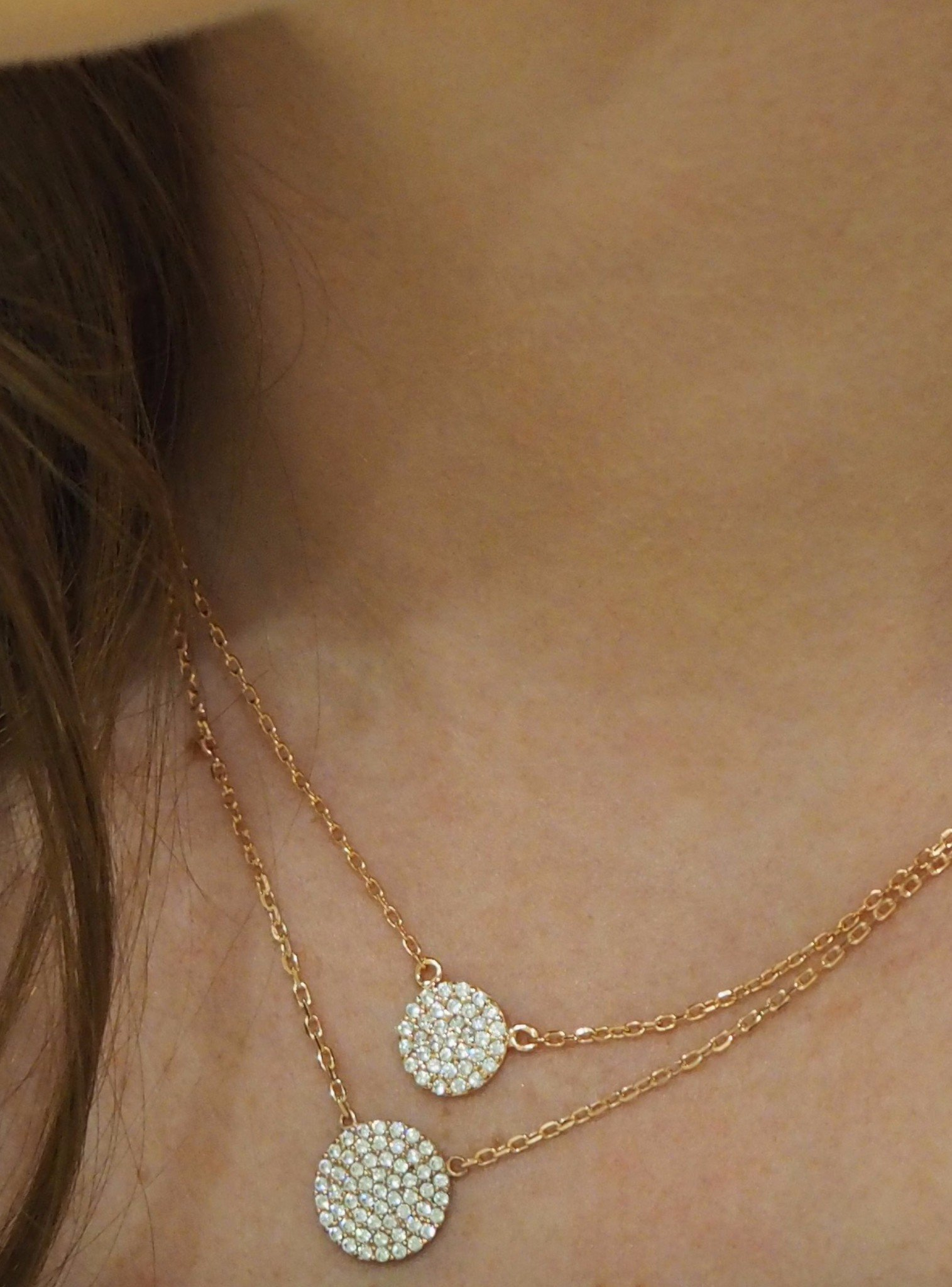 Adele Circle Disc CZ Pave Set Necklace in Rose Gold