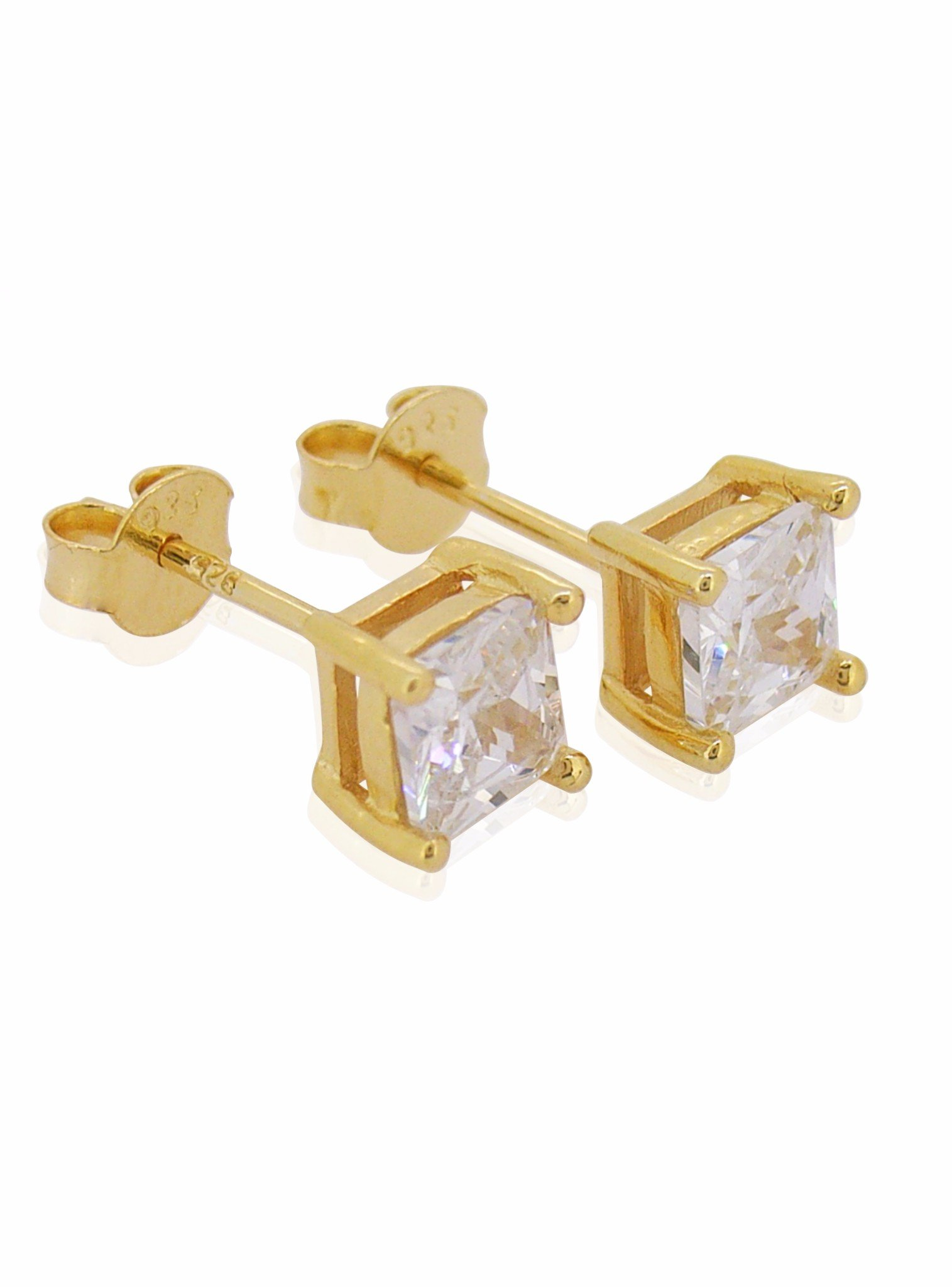 Aaliyah Princess Square 6mm CZ Earrings in Gold