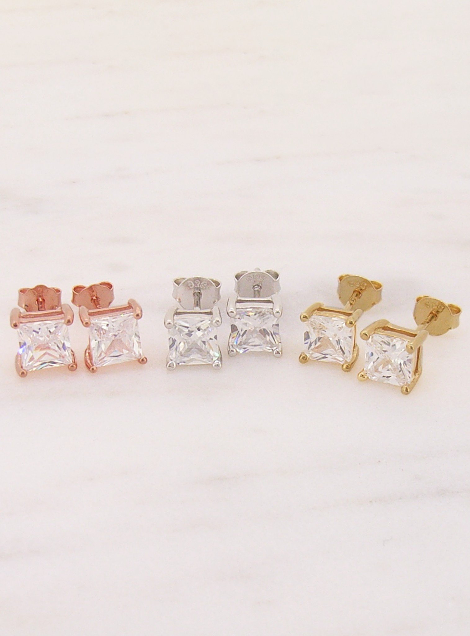 Aaliyah Princess Square 6mm CZ Earrings in Rose Gold