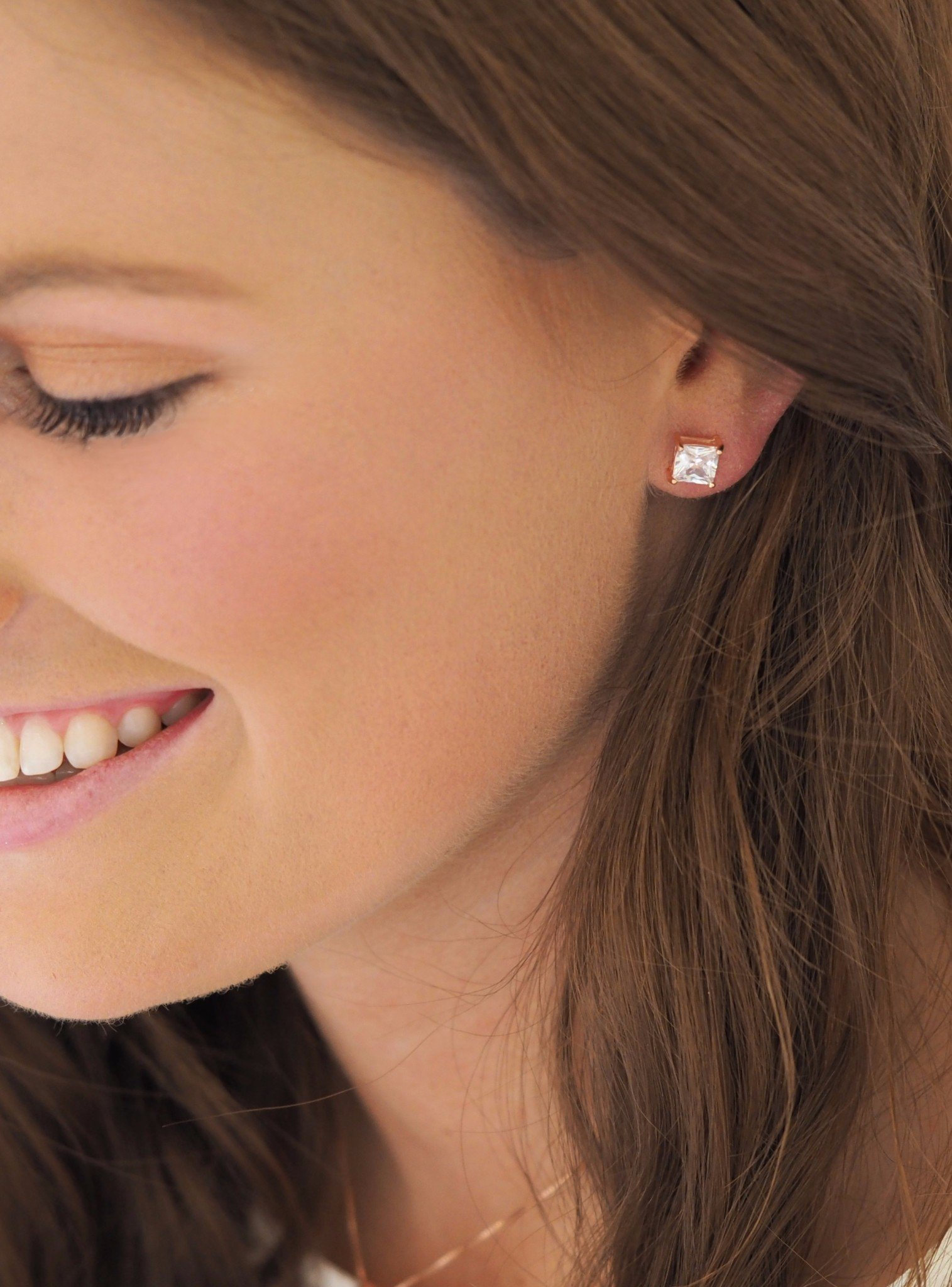 Aaliyah Princess Square 4mm CZ Earrings in Rose Gold