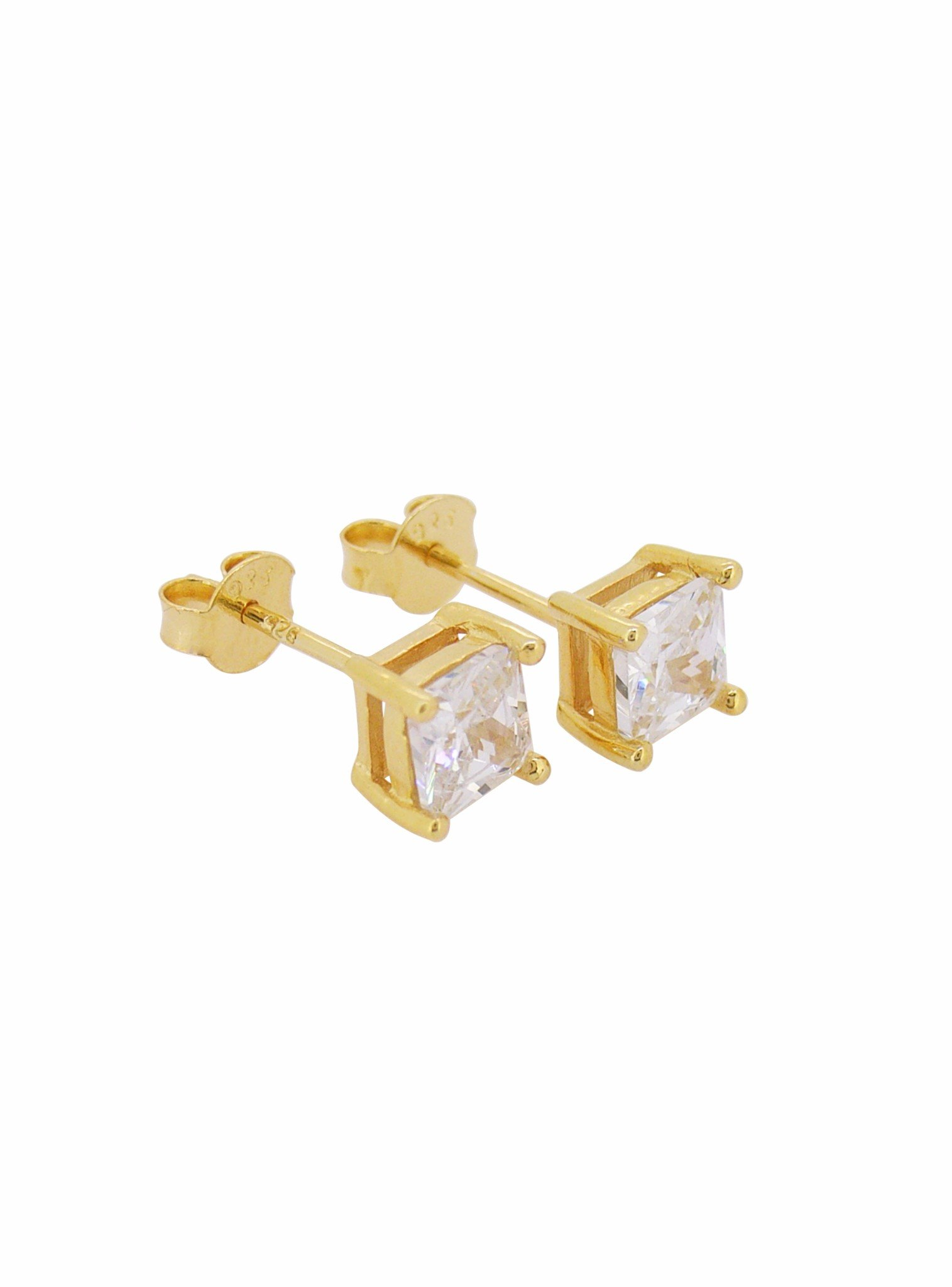 Aaliyah Princess Square 4mm CZ Earrings in Gold