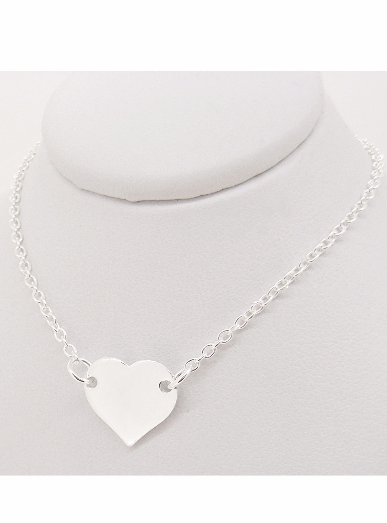 Michaela Love Heart Tag Necklace in Silver