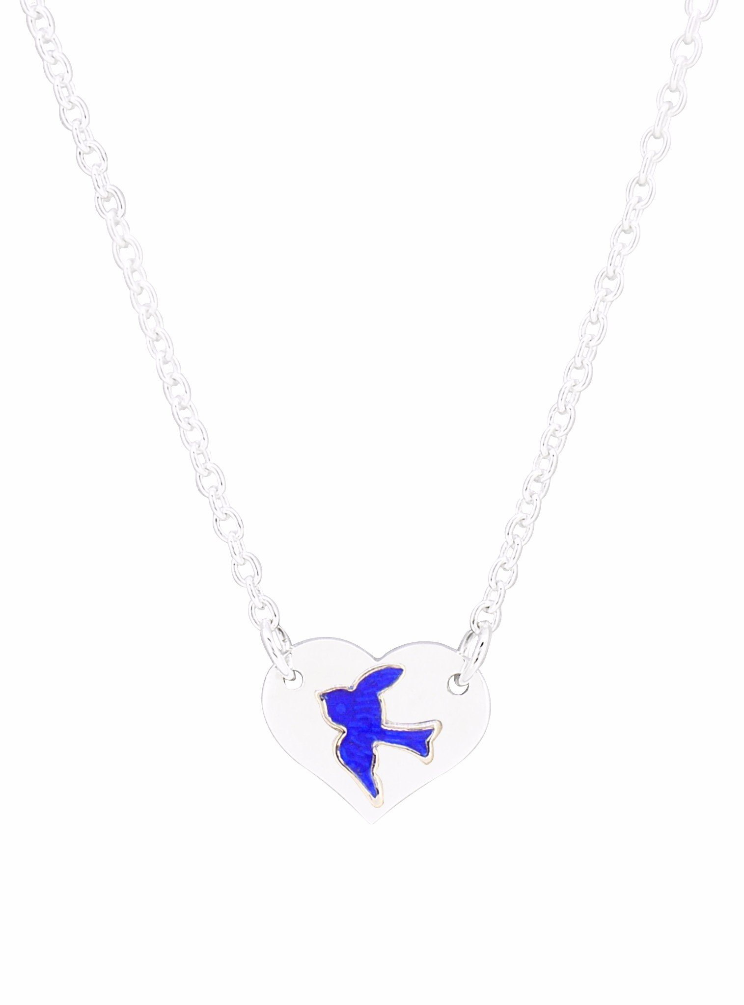 Michaela Bluebird Love Heart Tag Necklace in Silver