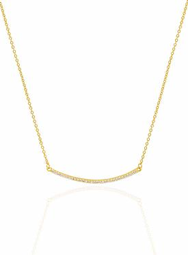 Emilia CZ Pave Set Bar Necklace in Gold