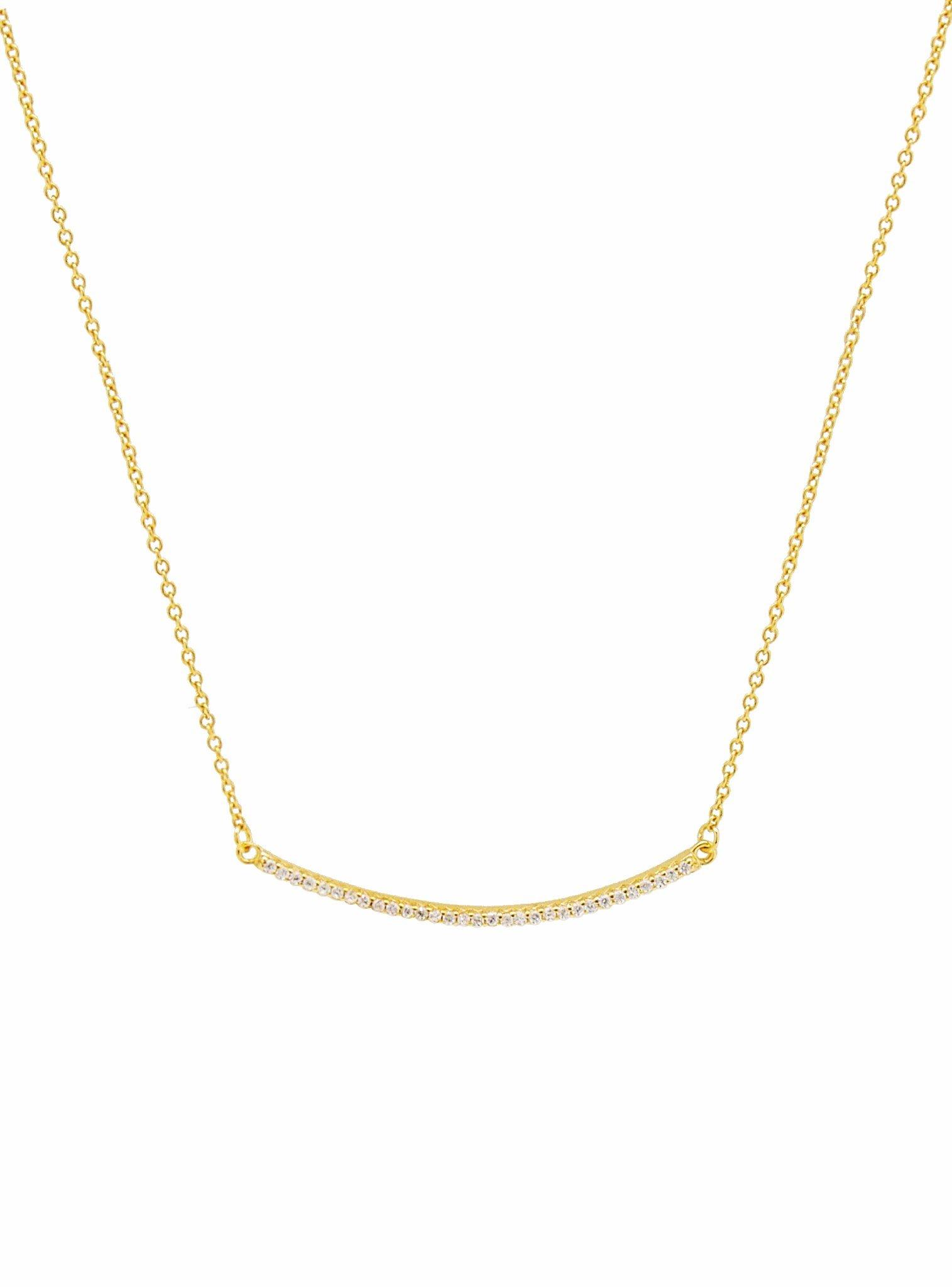 Emilia CZ Pave Set Bar Necklace in Gold