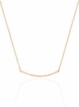 Emilia CZ Pave Set Bar Necklace in Rose Gold