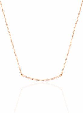 Emilia CZ Pave Set Bar Necklace in Rose Gold