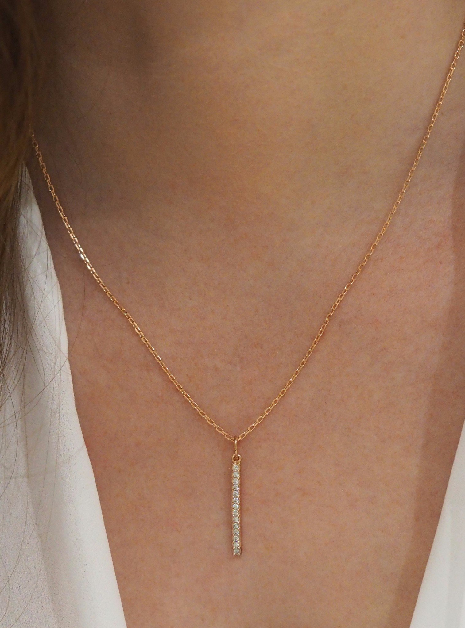 Emilia CZ Drop Bar Necklace in Rose Gold