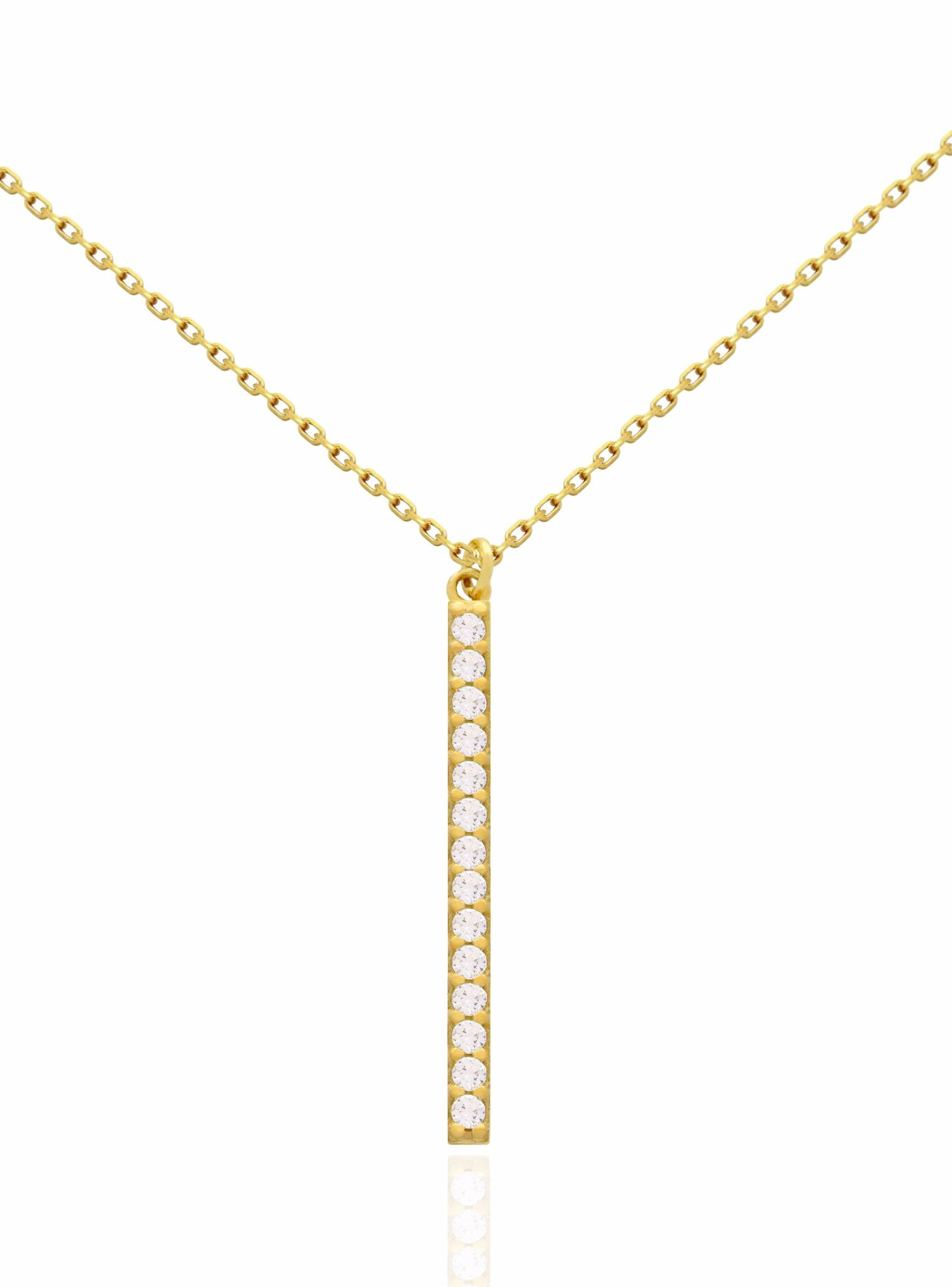 Emilia CZ Drop Bar Necklace in Gold