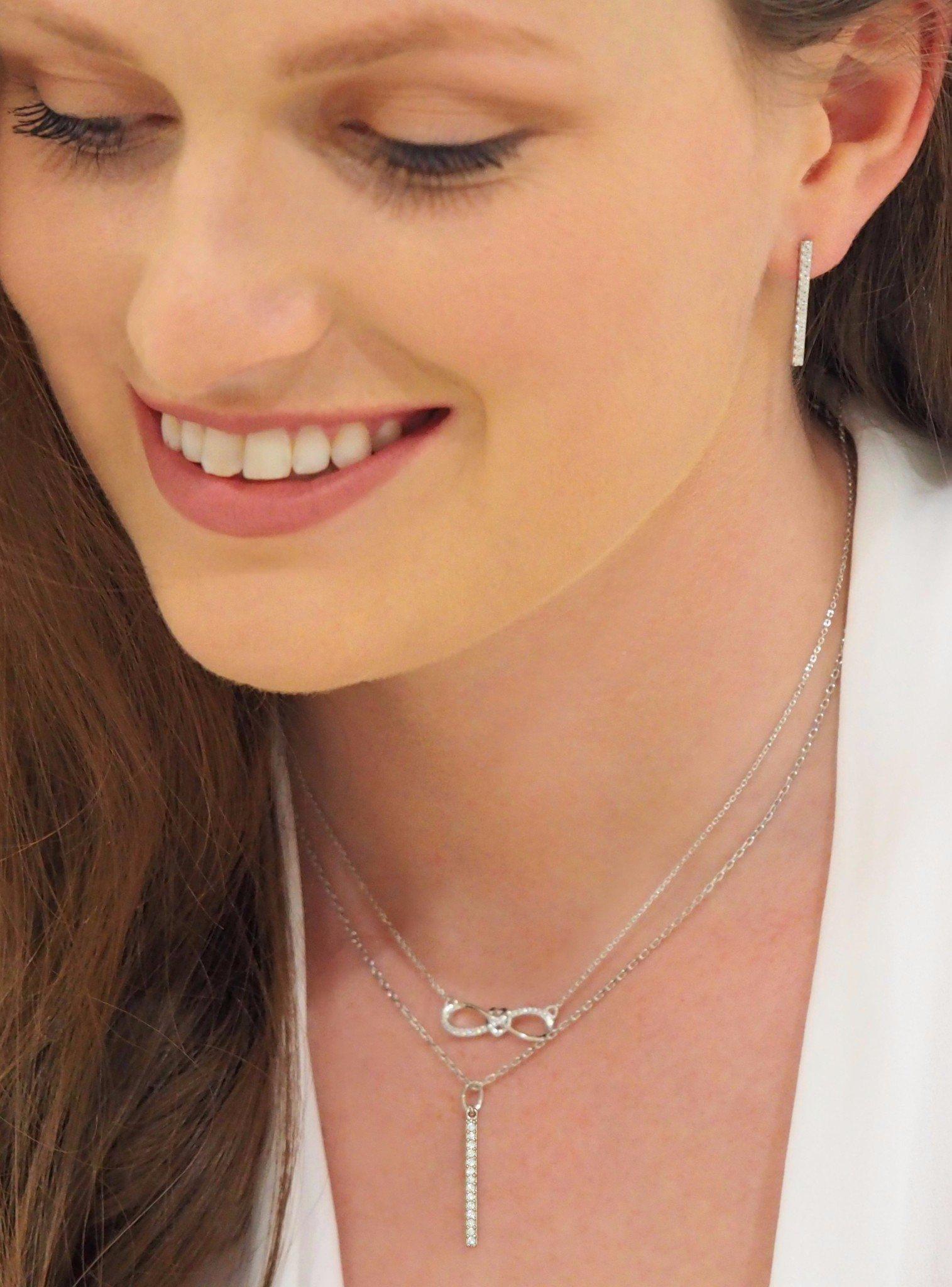 Emilia CZ Drop Bar Necklace in Silver