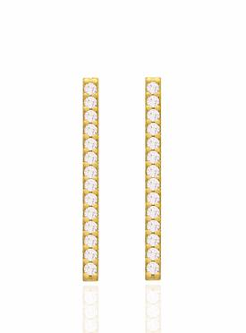 Emilia CZ Drop Bar Earrings in Gold