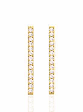 Emilia CZ Drop Bar Earrings in Gold