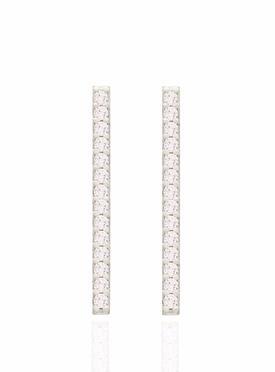 Emilia CZ Drop Bar Earrings in Silver