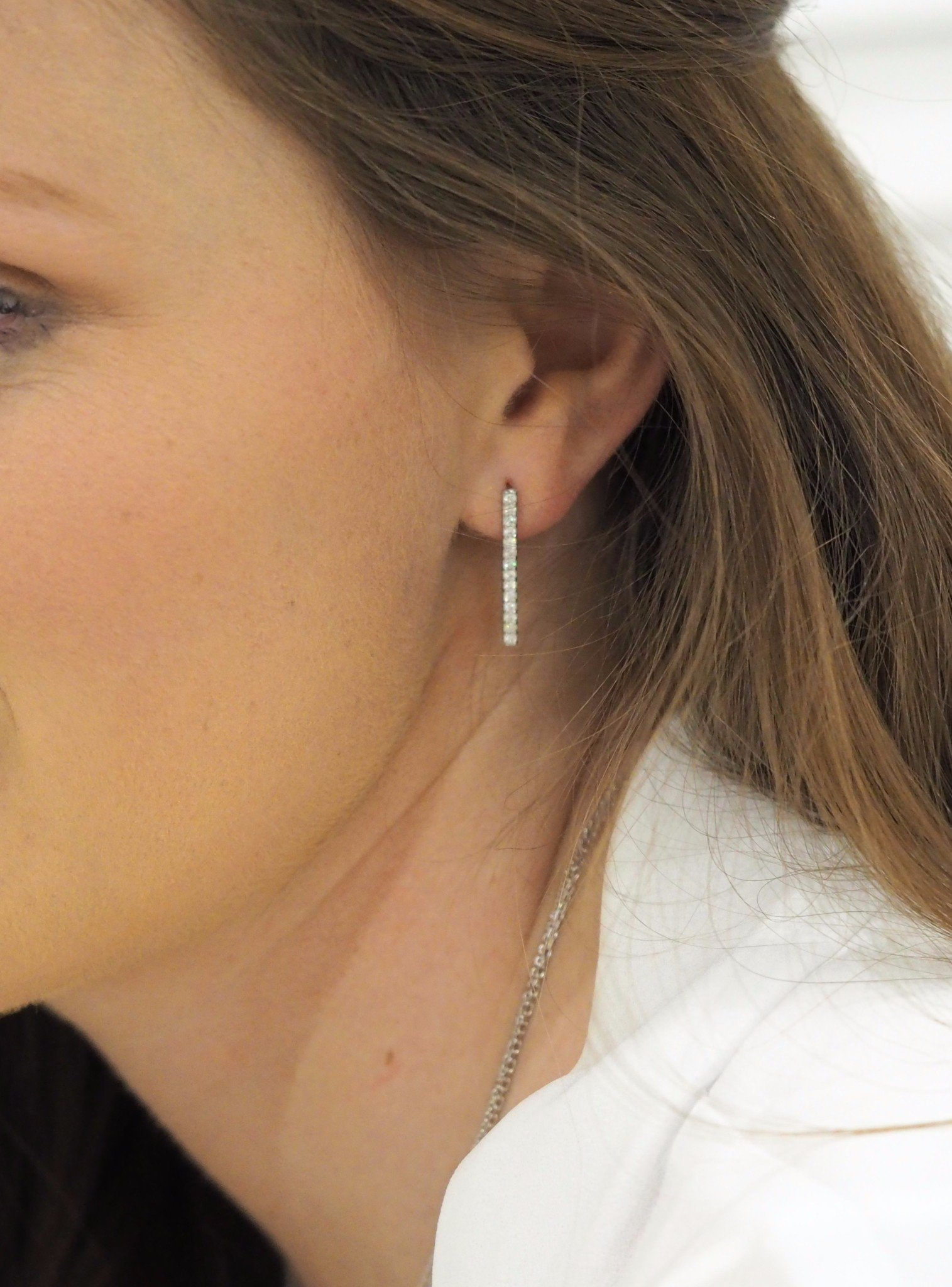 Emilia CZ Drop Bar Earrings in Silver