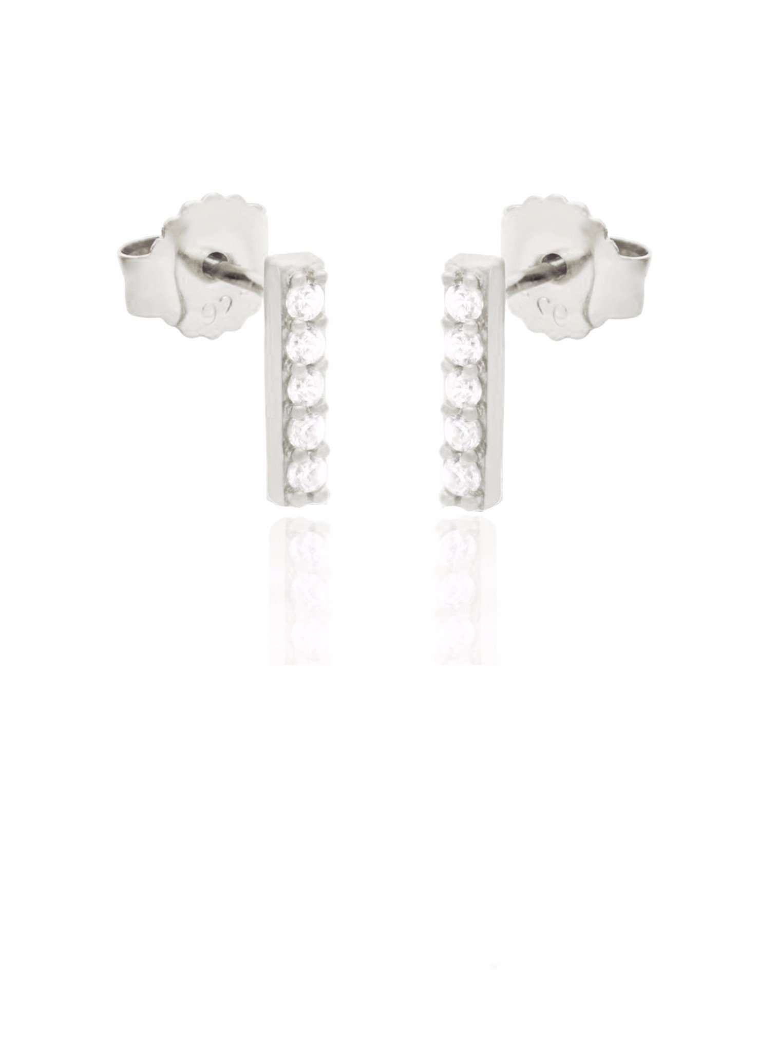 Emilia CZ Drop Small Bar Earrings in Silver