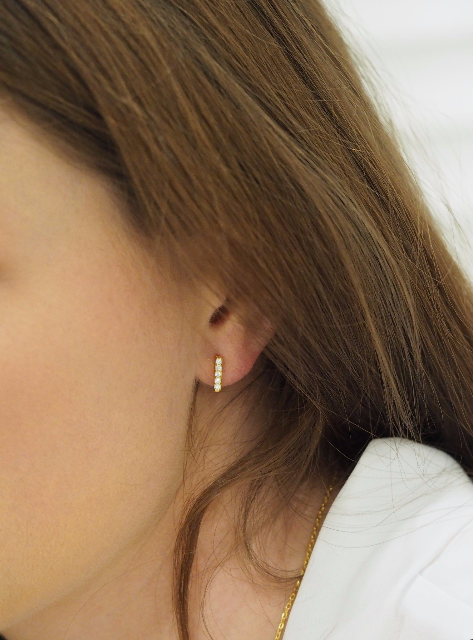 Emilia CZ Drop Small Bar Earrings in Gold