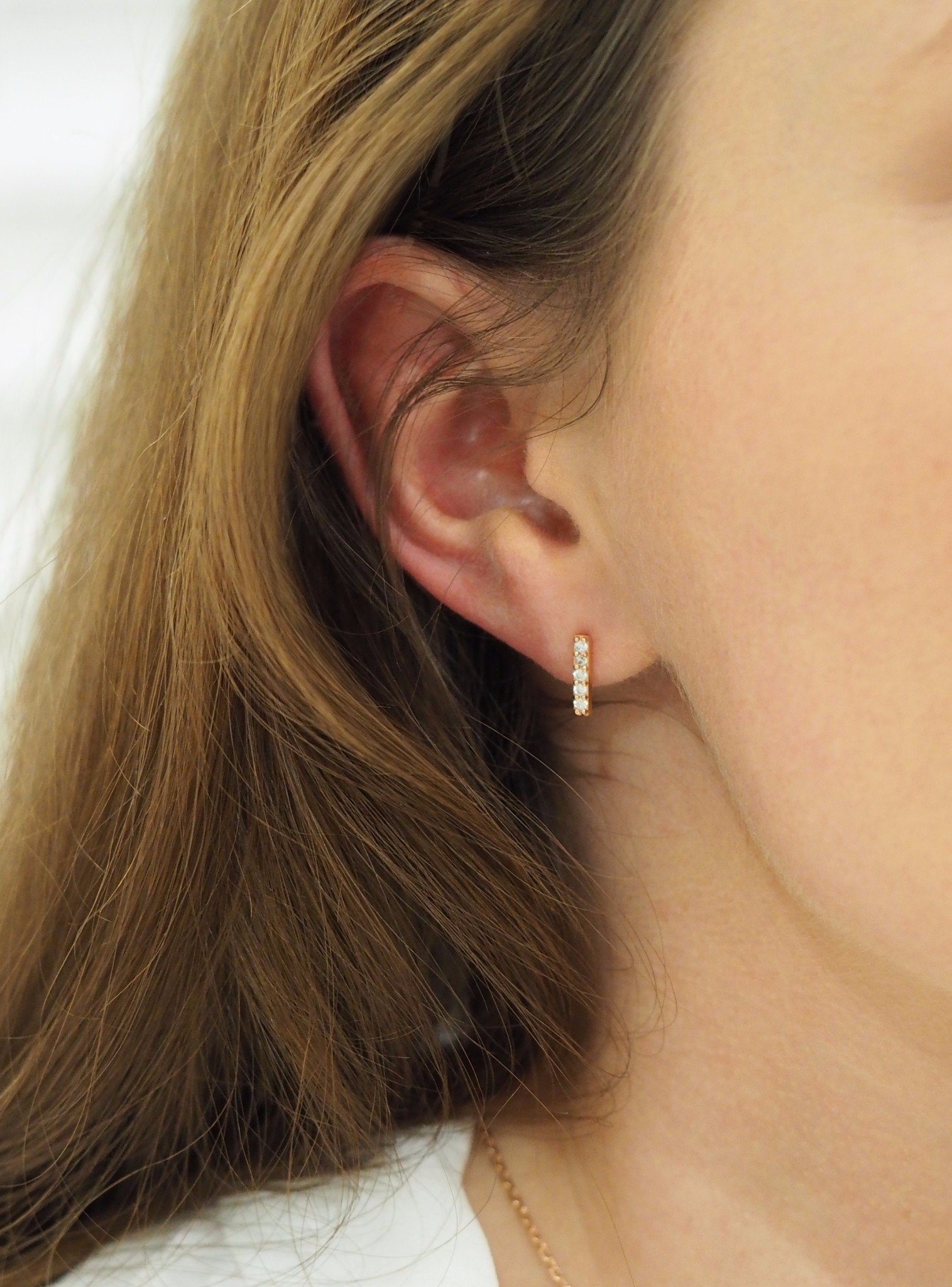 Emilia CZ Drop Small Bar Earrings in Rose Gold