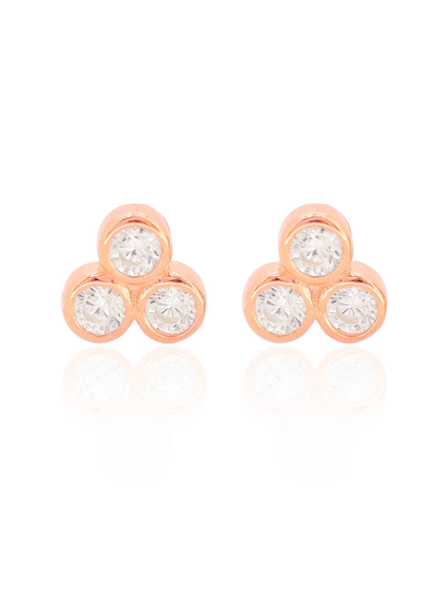 Selena Triple CZ Stud Earrings in Rose Gold