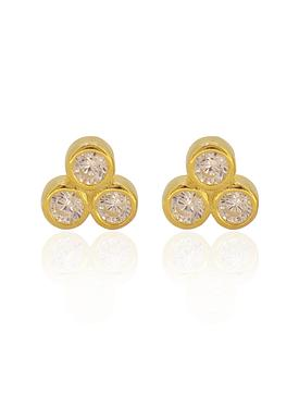 Selena Triple CZ Stud Earrings in Gold