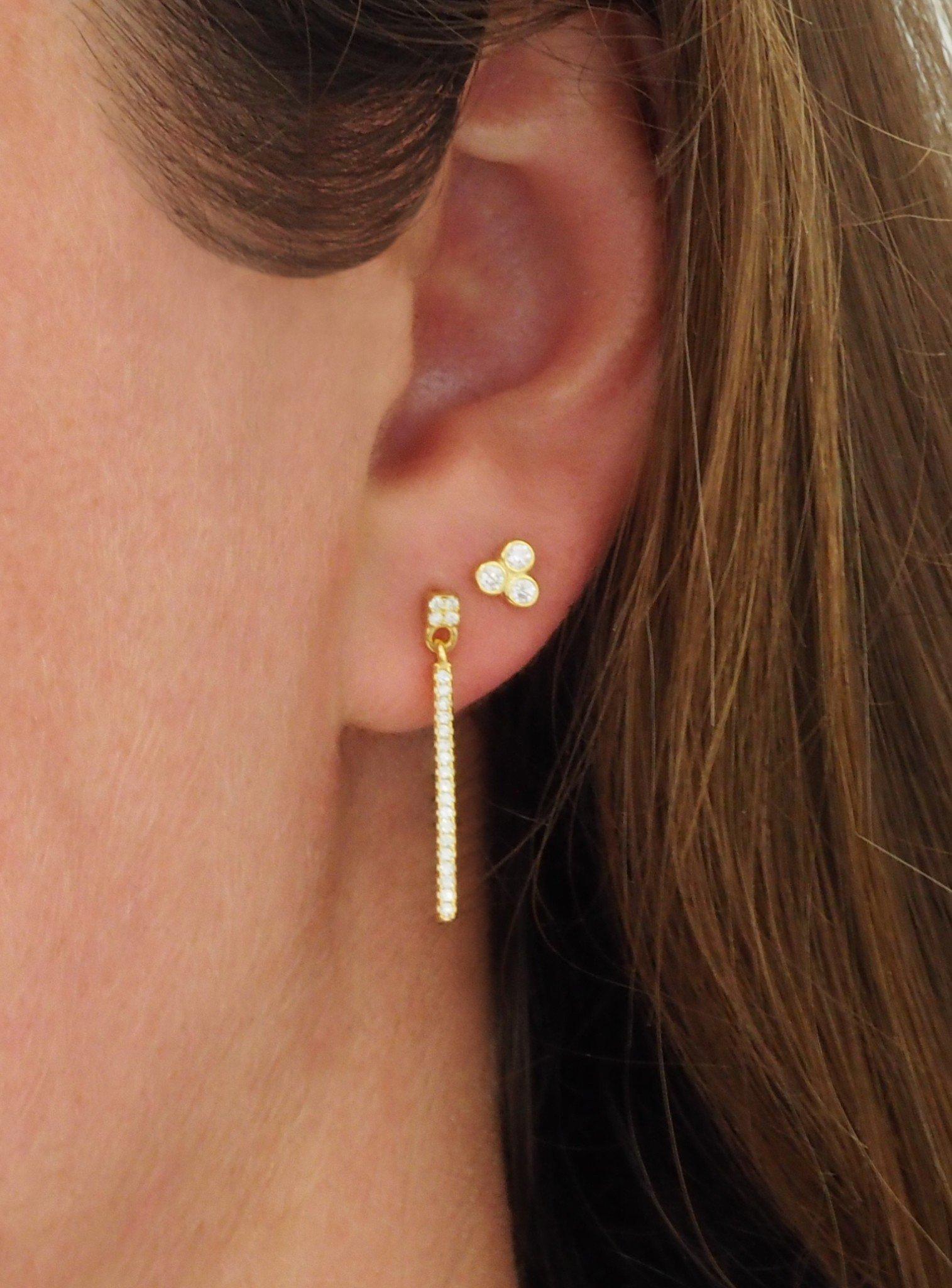 Selena Triple CZ Stud Earrings in Gold