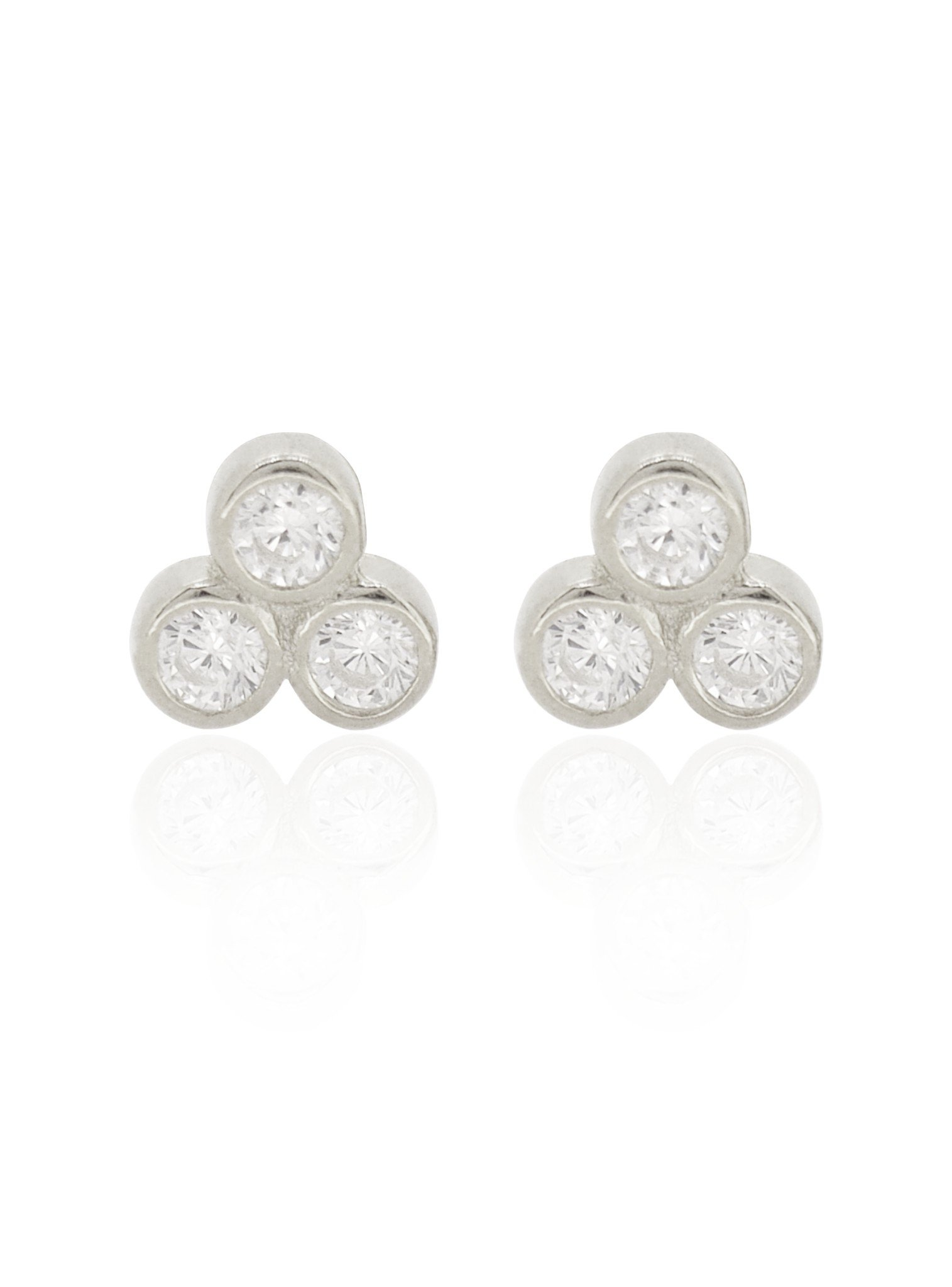 Selena Triple CZ Stud Earrings in Silver