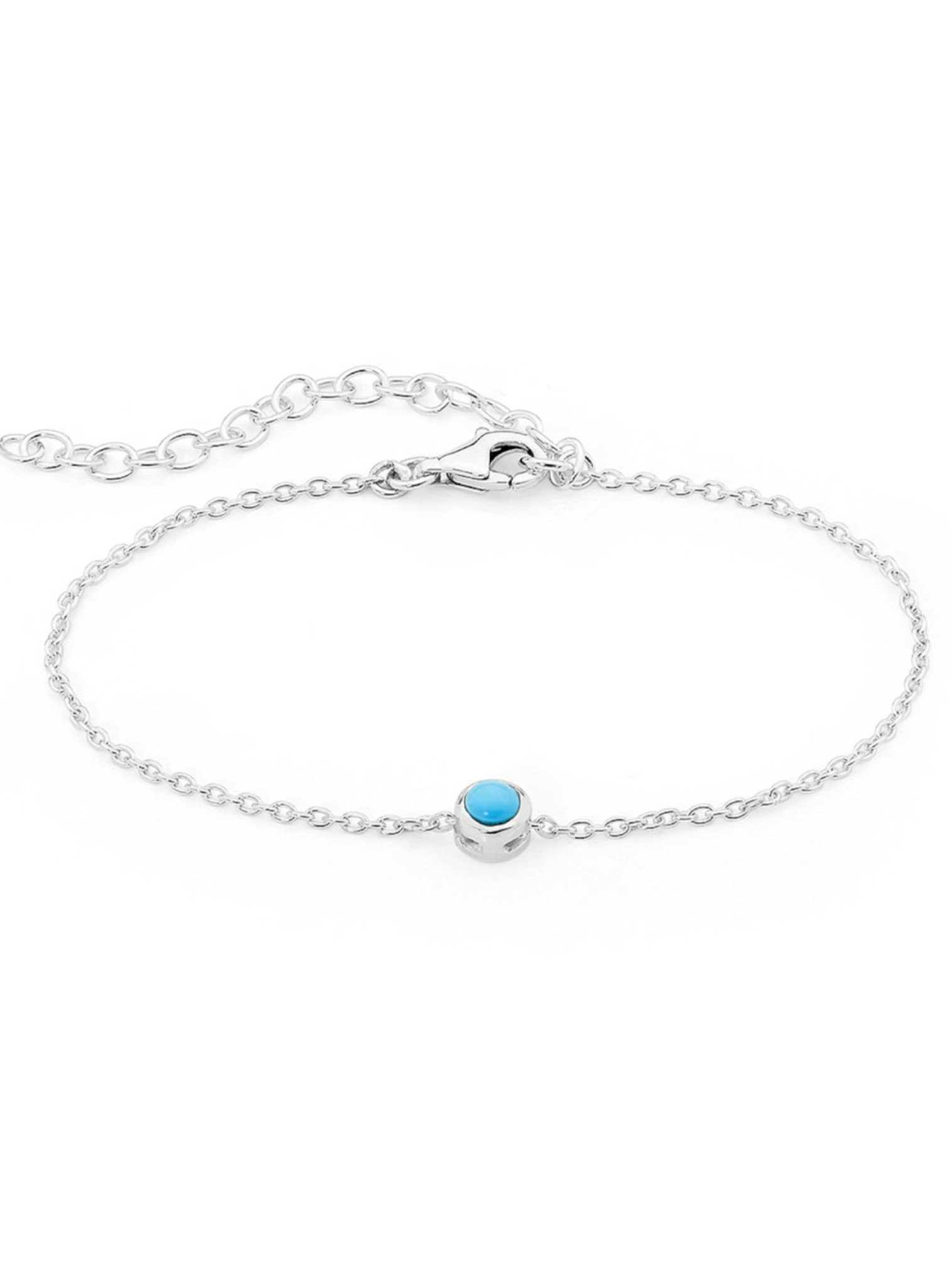 Turquoise Solitaire Bracelet in Sterling Silver