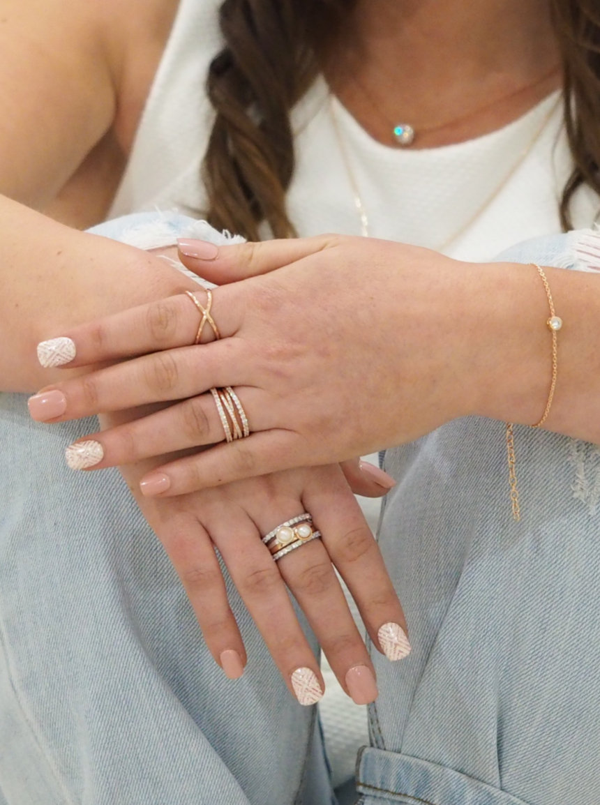 Pearl Stacking Ring in Sterling Silver