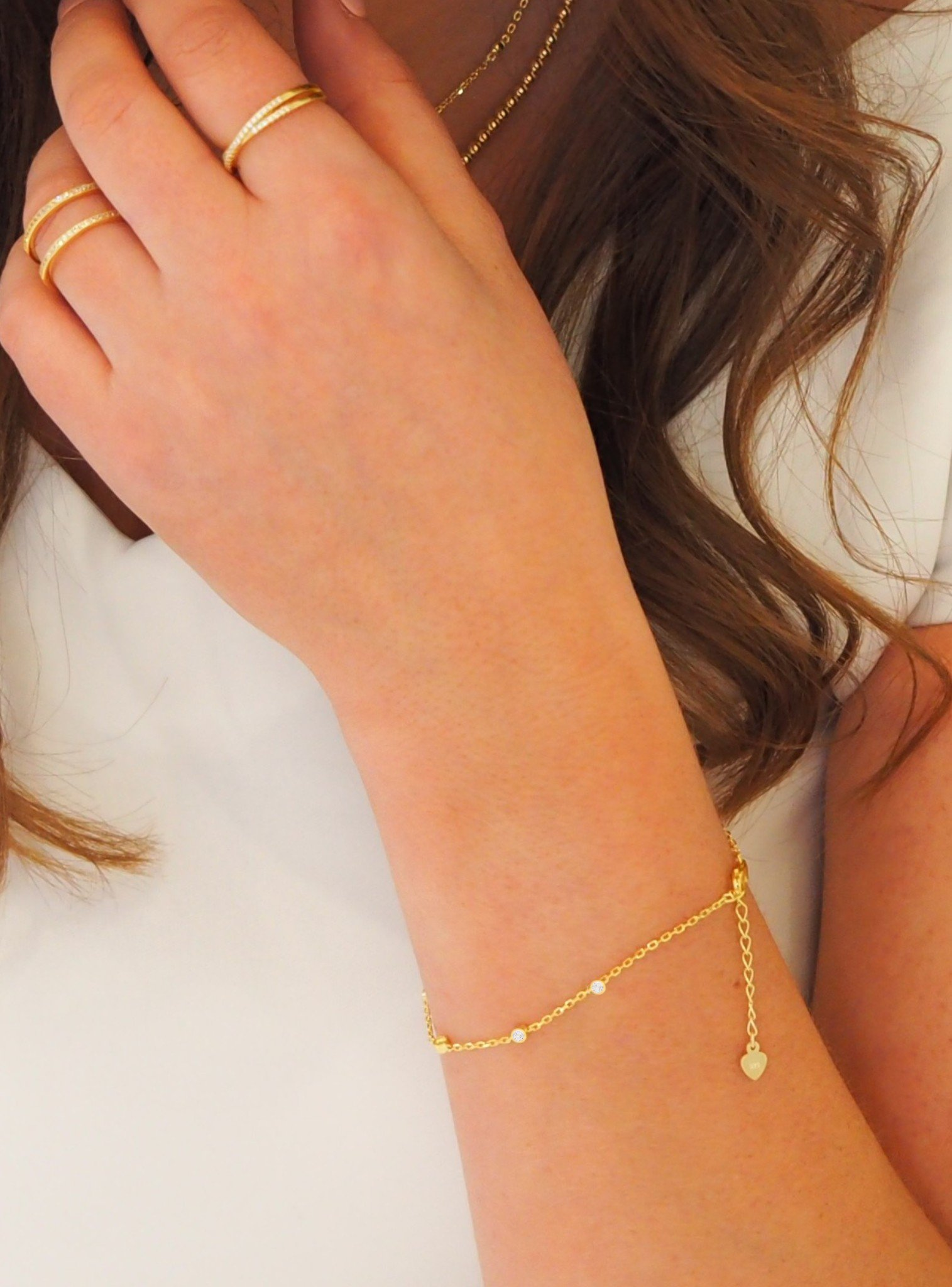 Arya Scattered CZ Bracelet in Gold