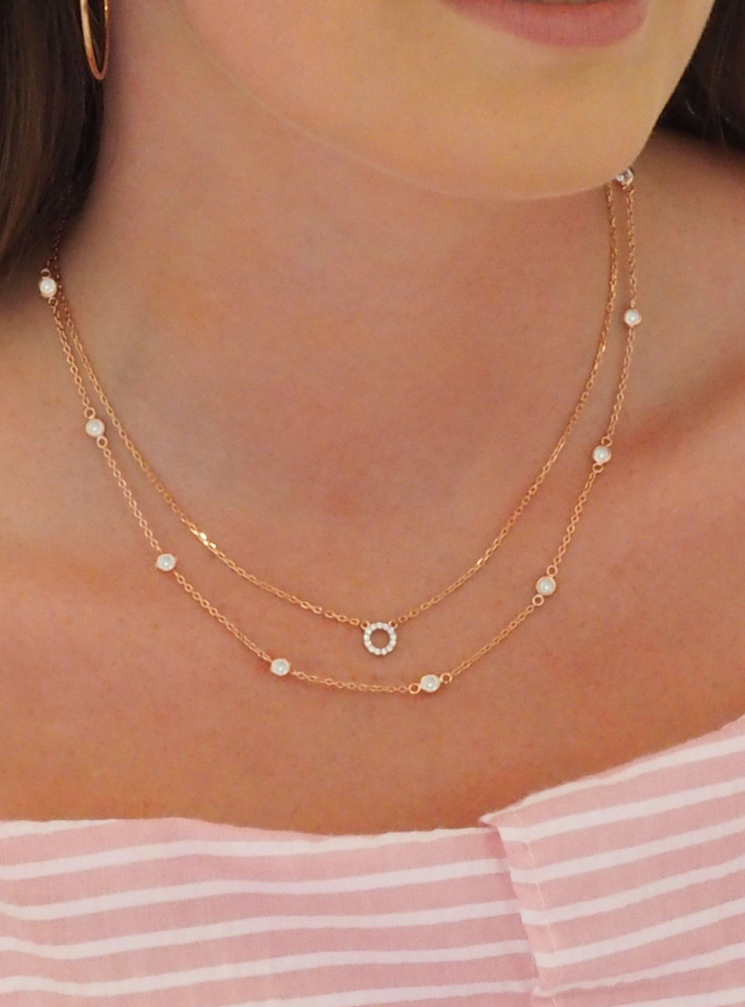 Savannah CZ Circle Necklace in Rose Gold