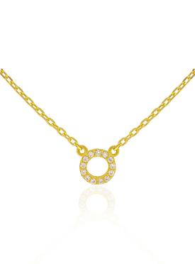 Savannah CZ Circle Necklace in Gold