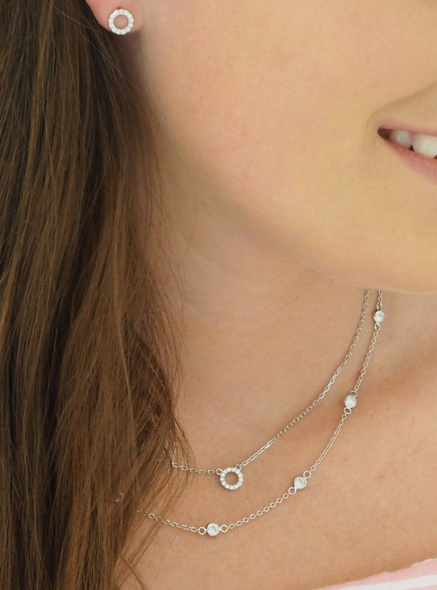 Savannah CZ Circle Necklace in Sterling Silver