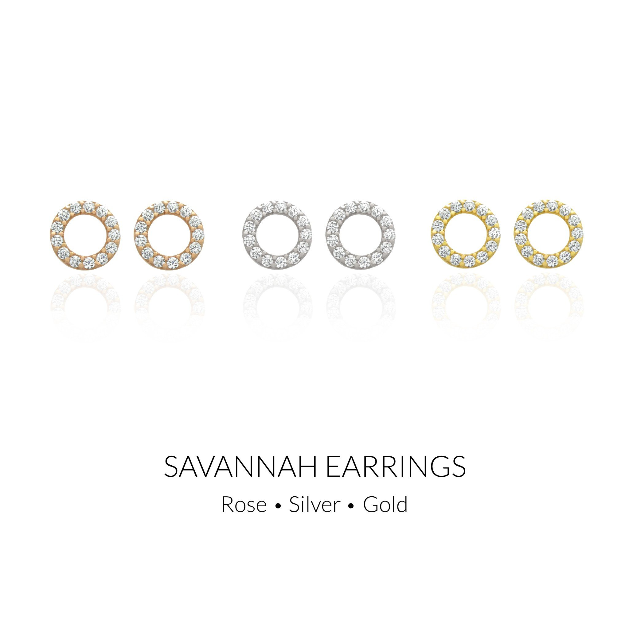 Savannah CZ Circle Earrings in Sterling Silver
