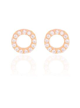 Savannah CZ Circle Earrings in Rose Gold