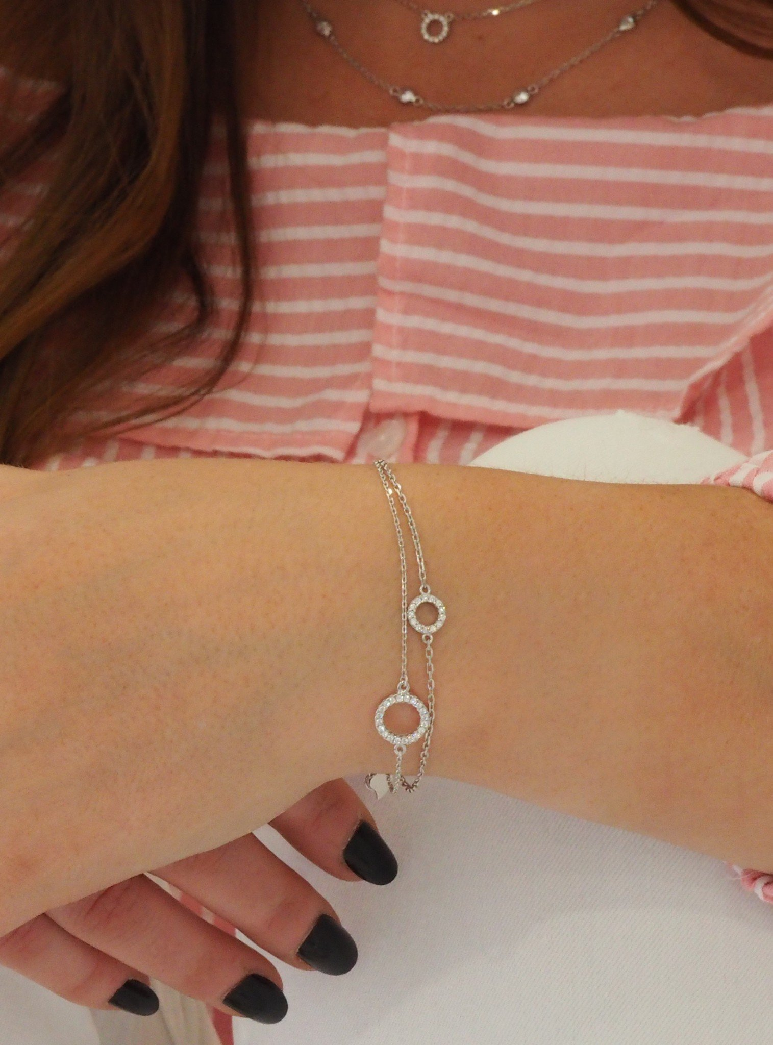 Savannah CZ Circle Bracelet in Sterling Silver