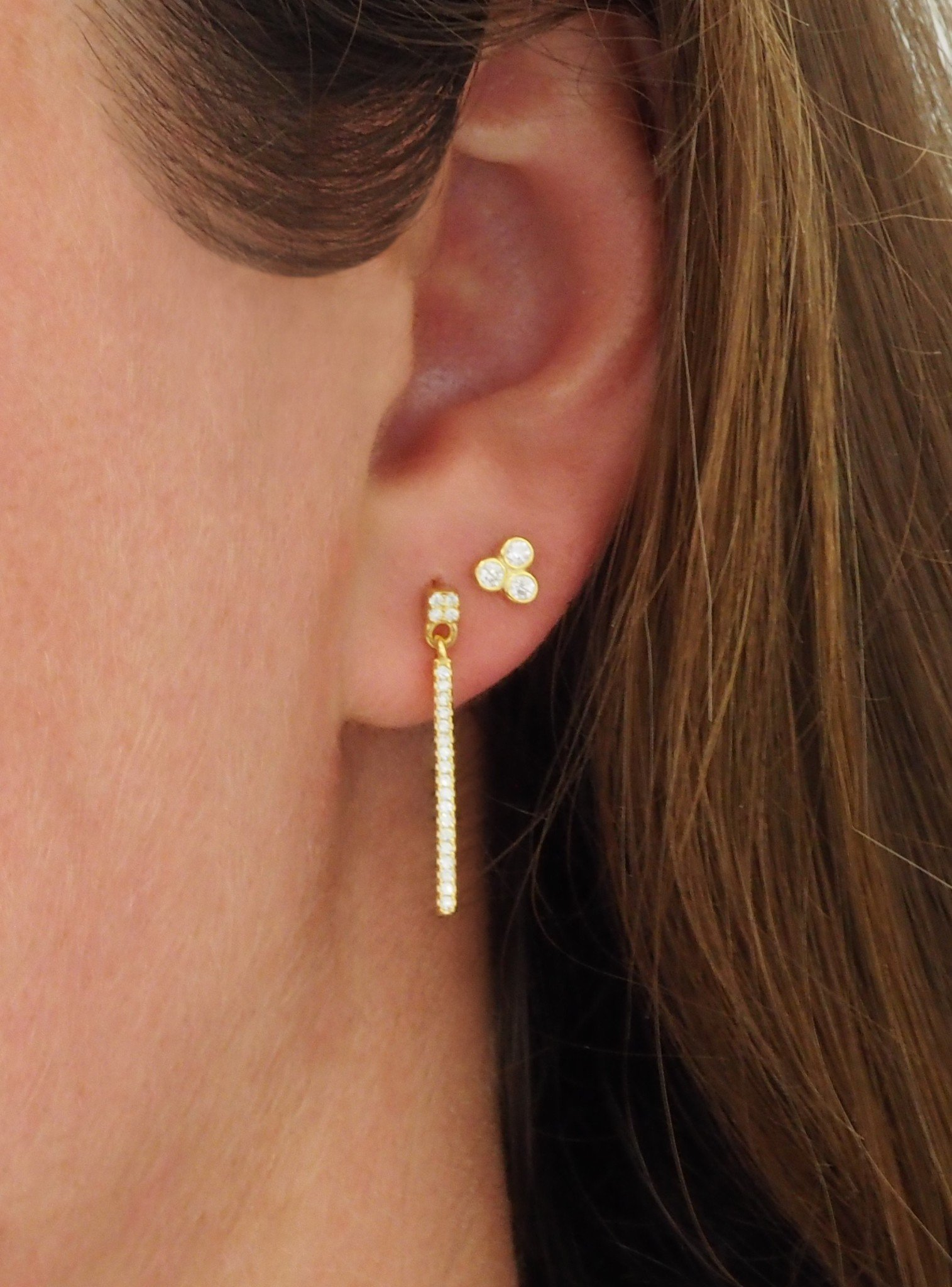 Emilia CZ Swinging Bar Earrings in Gold