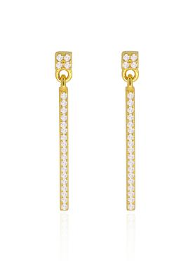 Emilia CZ Swinging Bar Earrings in Gold