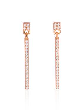 Emilia CZ Swinging Bar Earrings in Rose Gold