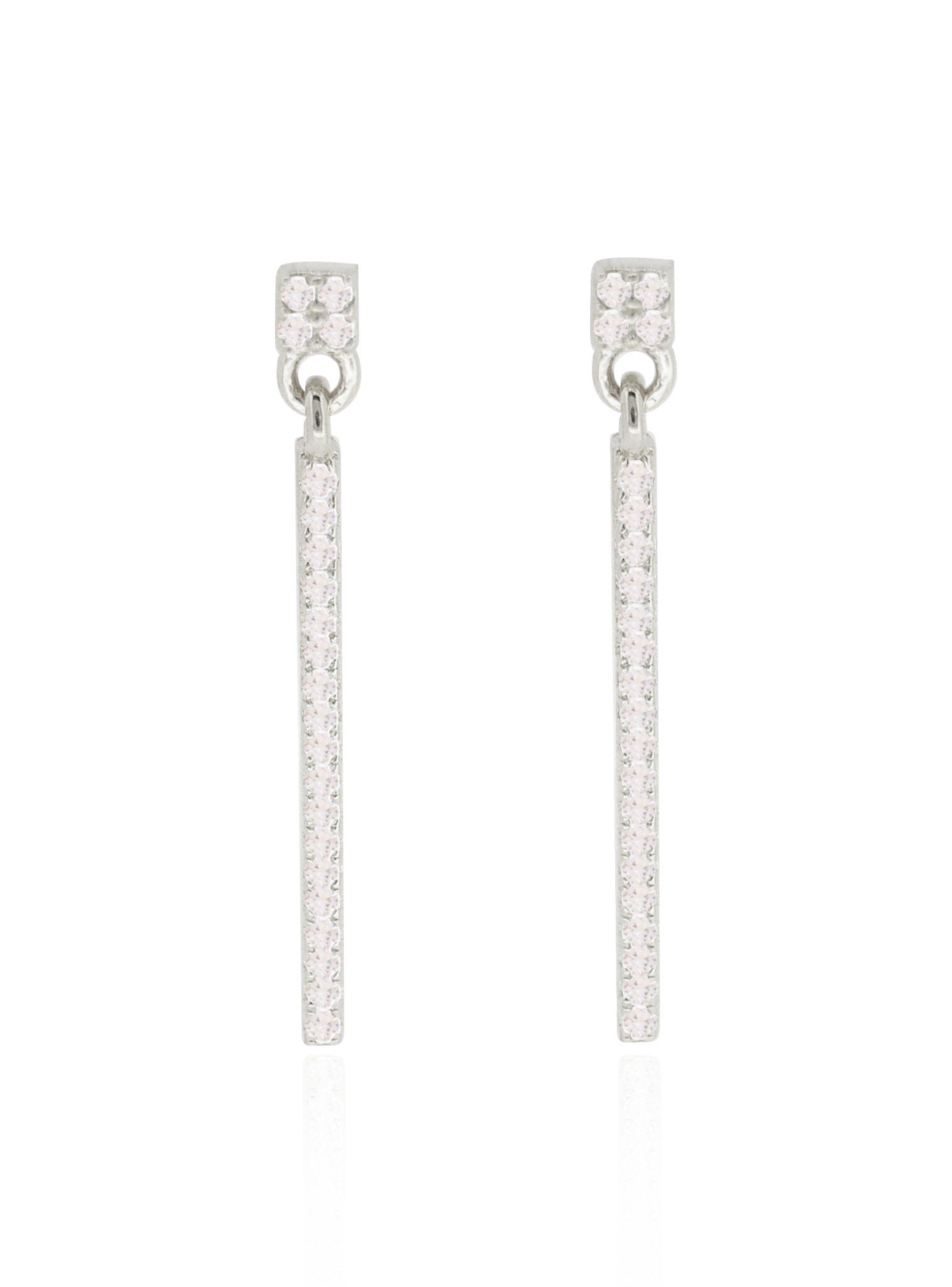 Emilia CZ Swinging Bar Earrings in Sterling Silver