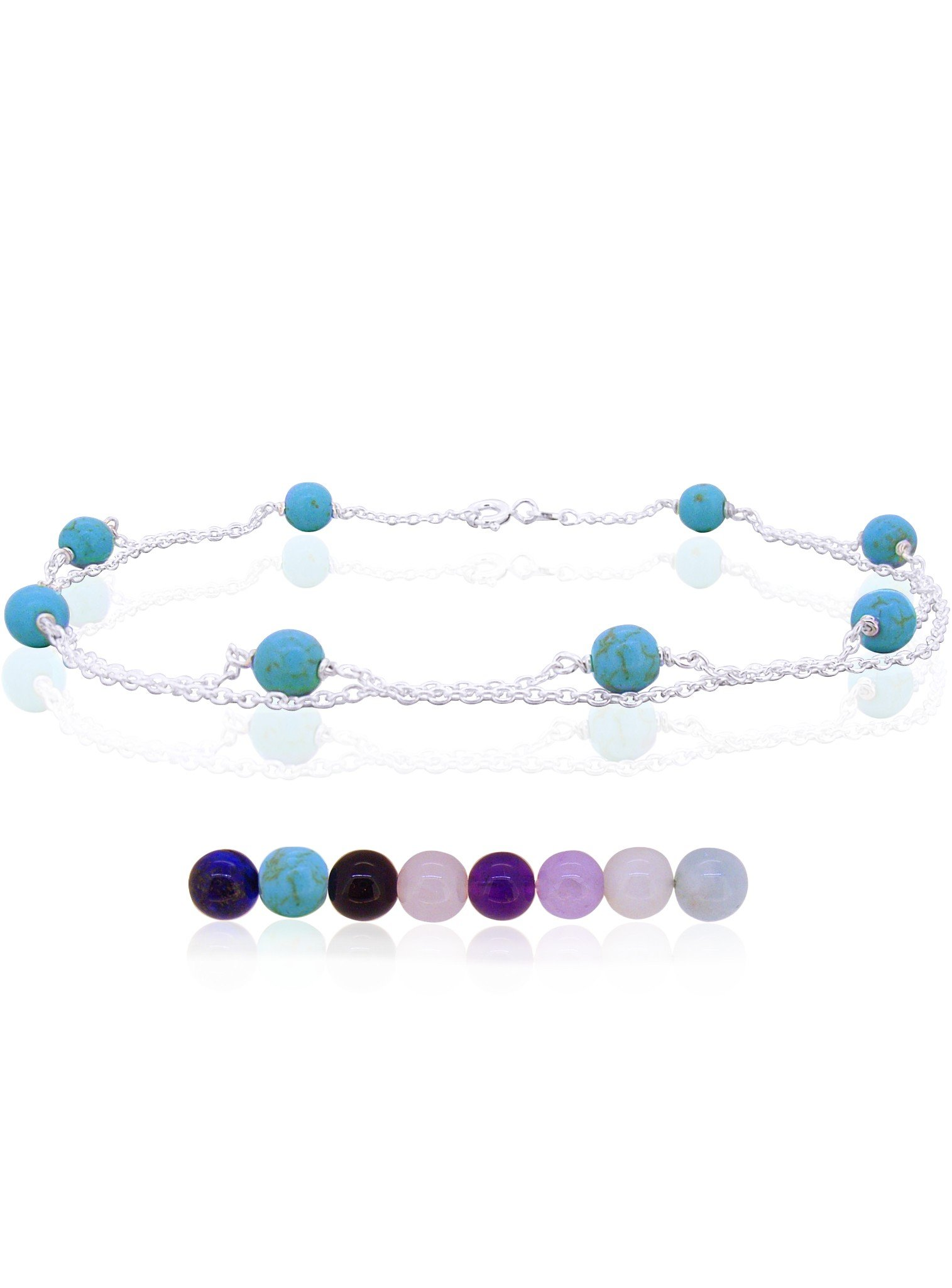 Anklet Chain with Gemstone Beads in Sterling Silver