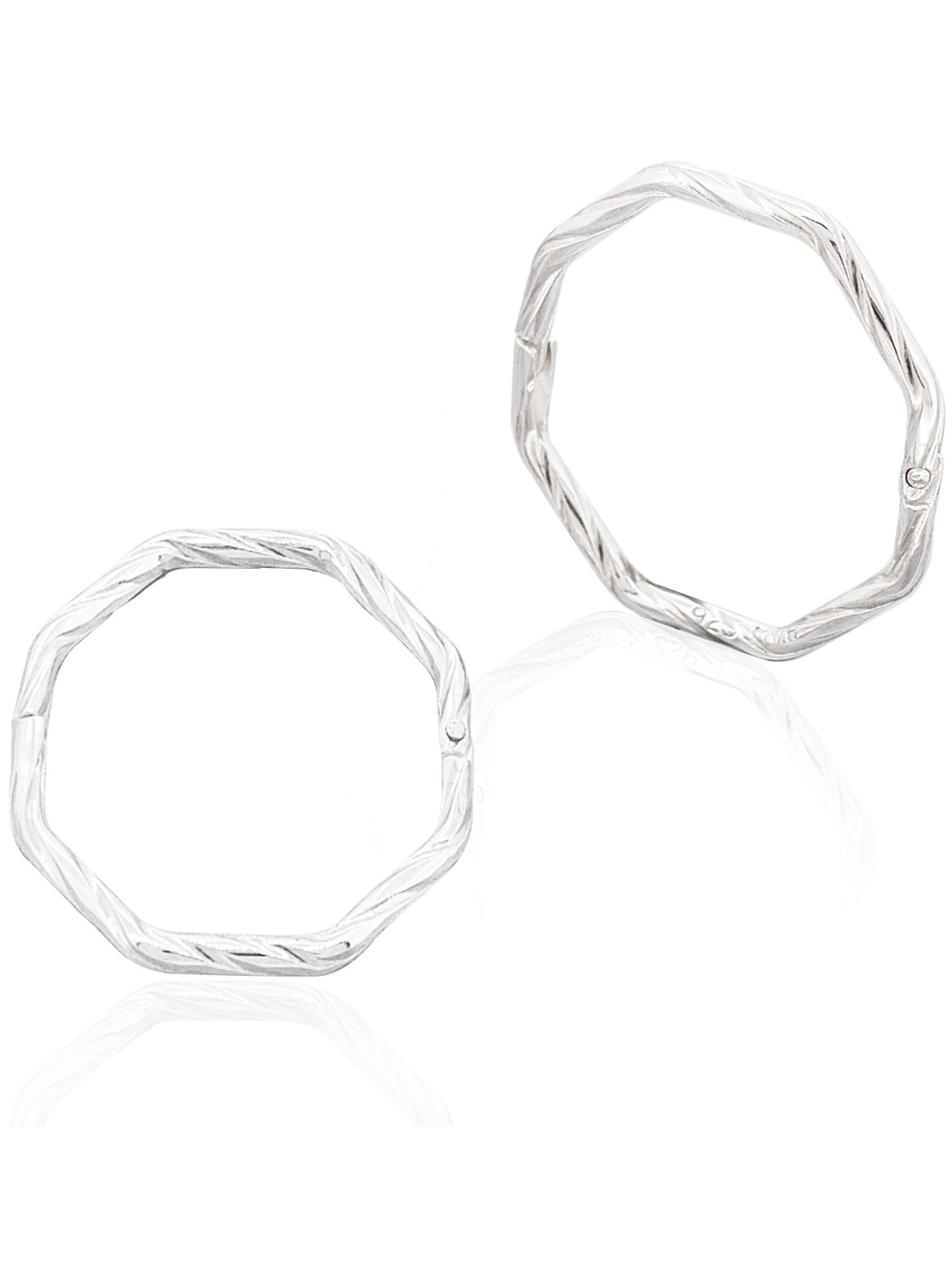 Everyday Octagonal Sleeper Hoop Earrings in Silver